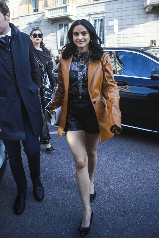 CAMILA MENDES Arrives at Salvatore Ferragamo Show at Milan Fashion Week 02/22/2020