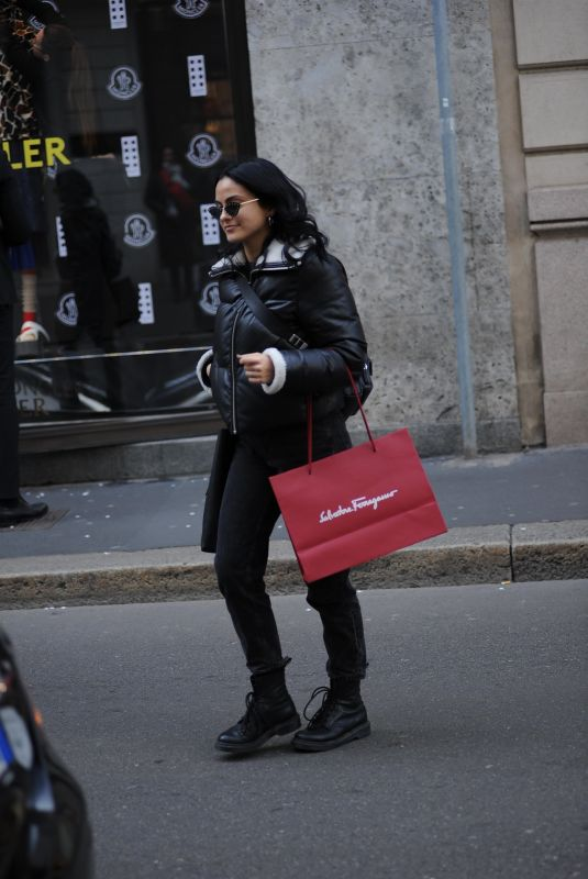 CAMILA MENDES Leaves Salvatore Ferragamo Store in Milan 02/21/2020
