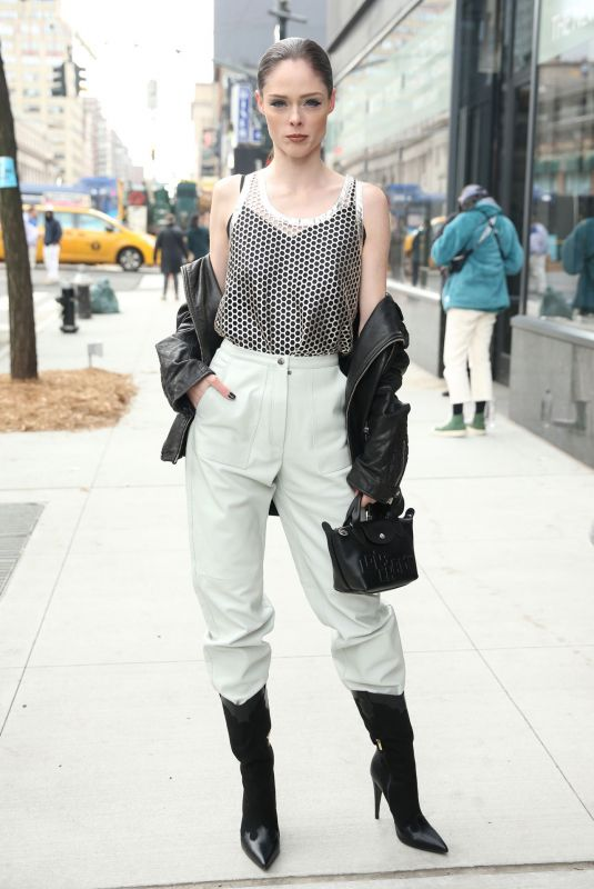 COCO ROCHA Arrives at Longchamp Show at New York Fashion Week 02/08/2020