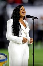 DEMI LOVATO Sings US National Anthem at Super Bowl LIV in Miami 02/02/2020