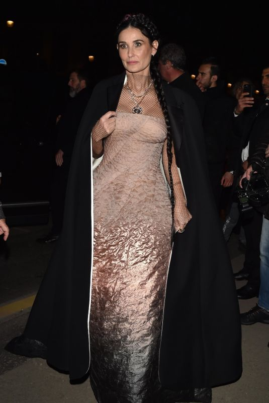 DEMI MOORE Arrives at Harper's Bazaar Fashion Party in Paris 02/26/2020
