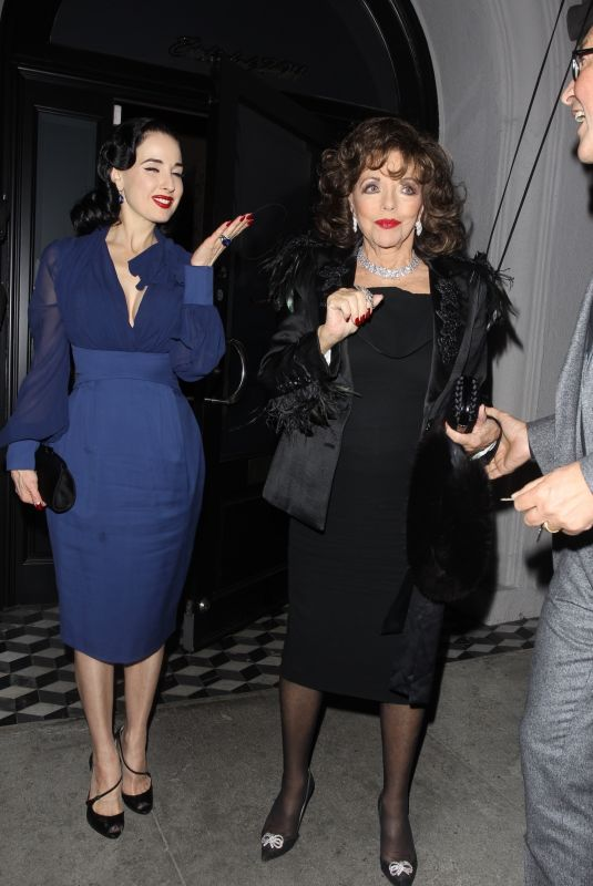DITA VON TEESE and JOAN COLLINS at Craig's Restaurant in West Hollywood 02/12/2020