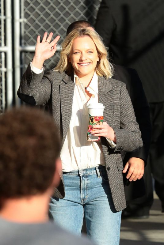 ELISABETH MOSS Arrives at Jimmy Kimmel Live in Los Angeles 02/25/2020