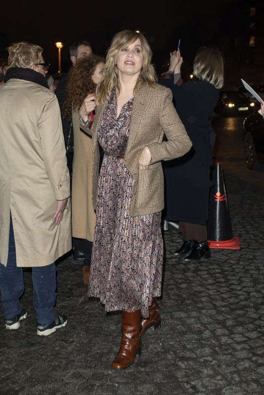 EMMANUELLE SEIGNER Arrives at Celine Fashion Show in Paris 02/28/2020