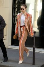GIGI HADID Leaves Chanel Office in Paris 02/25/2020