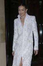 GIGI HADID Leaves Her Hotel in Paris 02/26/2020