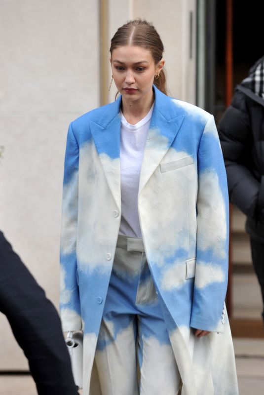 GIGI HADID Leaves LVHM Offices in Paris 02/27/2020