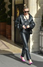 HAILEY BIEBER All in Leathers Heading to Dior Fashion Show in Paris 02/25/2020