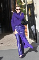 HAILEY BIEBER All in Purple at Montaigne Market Store in Pars 02/26/2020