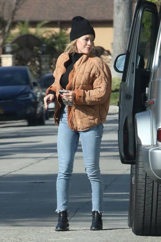 HILARY DUFF Arrives at a Friend's House in Studio City 02/23/2020