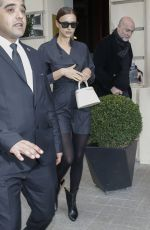 IRINA SHAYK Leaves Her Hotel in Paris 02/27/2020