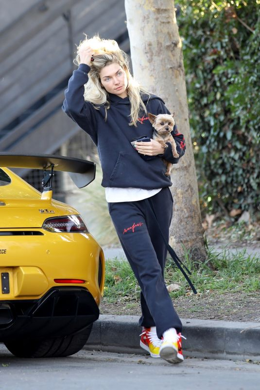 JESSICA HART Out with Her Dog in Los Angeles 02/05/2020