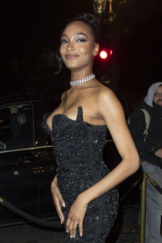 JOURDAN DUNN Arrives at CR Fashion Book x Redemption Party in Paris 02/28/2020