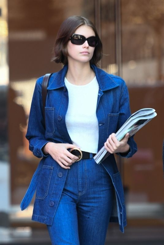 KAIA GERBER in Double Denim Out in Milan 02/22/2020