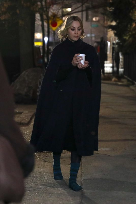 KALEY CUOCO on the Evening Set of The Flight Attendant at Airport in New York 02/25/2020
