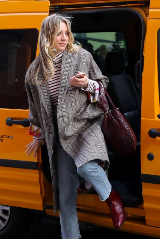 KALEY CUOCO on the Set of The Flight Attendant in Brooklyn 02/24/2020