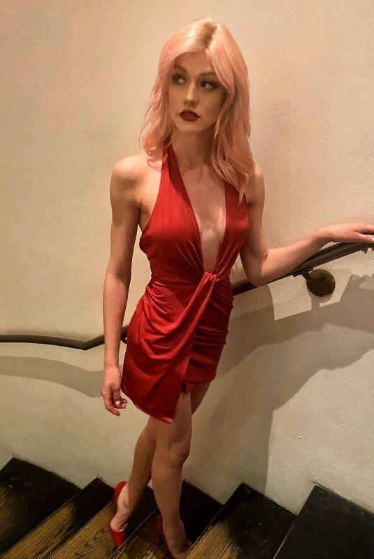 KATHERINE MCNAMARA in Red Dress - Instagram Photo 02/15/2020