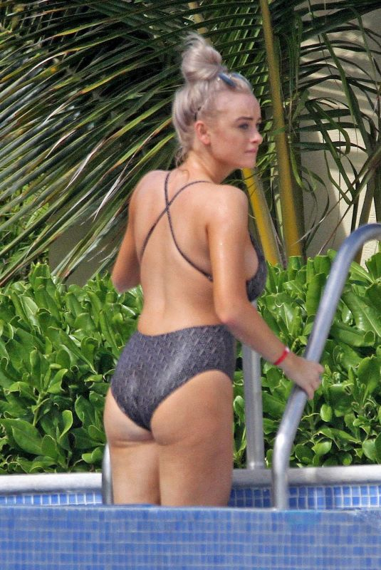 KATIE MCGLYNN in Swimsuit at a Pool in Mexico 01/22/2020