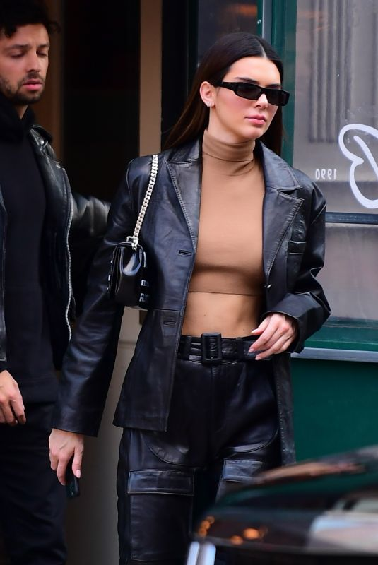 KENDALL JENNER All in Leather Out in New York 02/08/2020