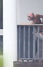 LADY GAGA at Balcony on Her Hotel in Miami 02/01/2020