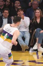 LESLIE MANN at a Basketball Game in Los Angeles 02/25/2020