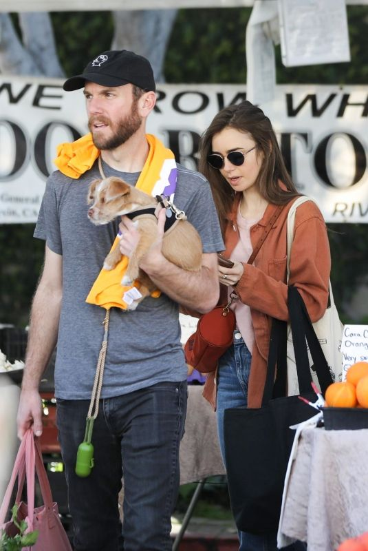 LILY COLLINS and Charlie McDowell Out with Her Dog in Los Angeles 02/02/2020