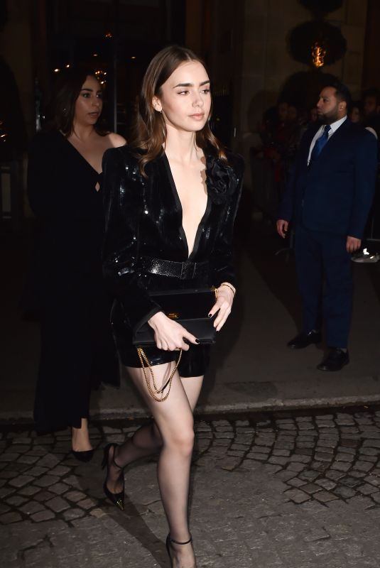 LILY COLLINS Leaves Her Hotel in Paris 02/25/2020