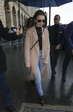 LILY COLLINS Leaves Her Hotel in Paris 02/26/2020