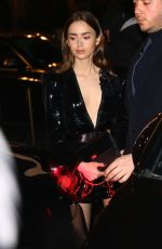 LILY COLLINS Night Out in Paris 02/25/2020