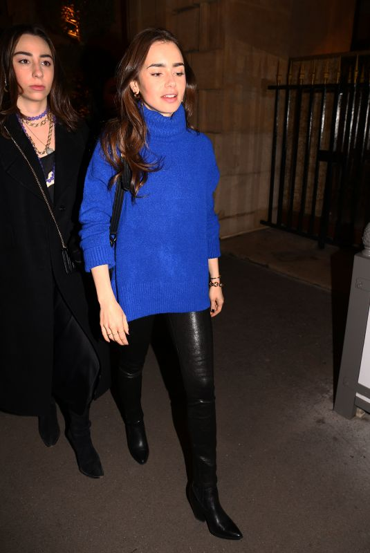 LILY COLLINS Night Out in Paris 02/26/2020
