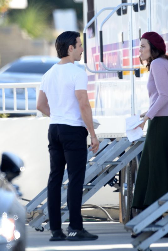 MANDY MOORE and Milo Ventimiglia on the Set of This Is Us in Los Angeles 02/04/2020