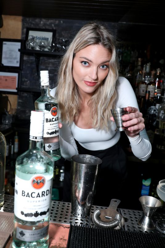 MARTHA HUNT at Bacardi Employees Go Back to the Bar to Spark Conversations in New York 02/06/2020