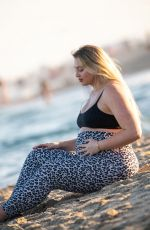 Pregnant ISKRA LAWRENCE at a Beach in Miami 02/11/2020
