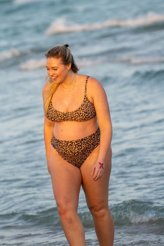 Pregnant ISKRA LAWRENCE in Bikini on the Beach in Miami 02/13/2020