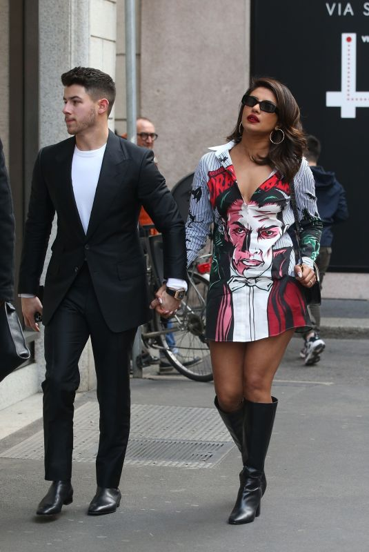 PRIYANKA CHOPRA and Nick Jonas Out in Milan 02/15/2020