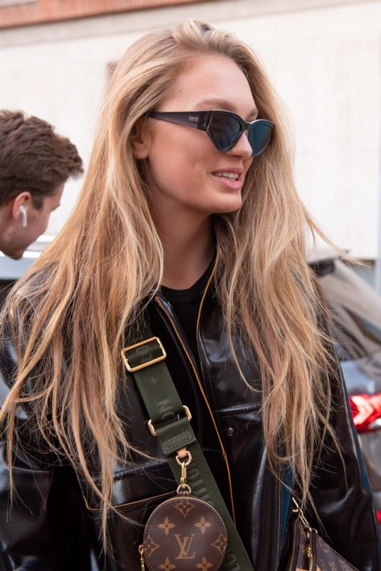 ROMEE STRIJD Arrives at Moschino Fashion Show in Milan 02/20/2020
