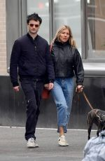 SIENNA MILLER and Tom Sturridge Out with Their Dog in New York 02/26/2020