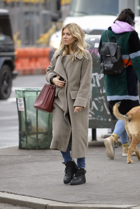 SIENNA MILLER Out in New York 02/03/2020