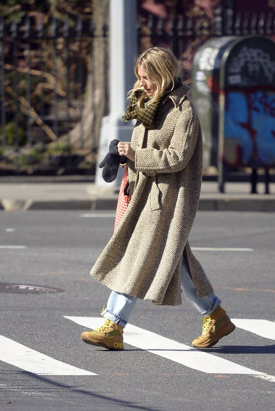 SIENNA MILLER Out in New York 02/21/2020