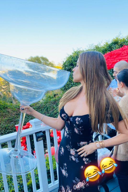 SOFIA VERGARA with a Large Glass - Instagram Photo 02/16/2020