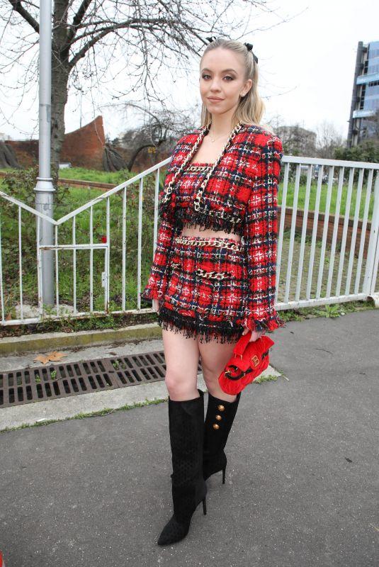 SYDNEY SWEENEY Arrives at Balmain Show at Paris Fashion Week 02/28/2020