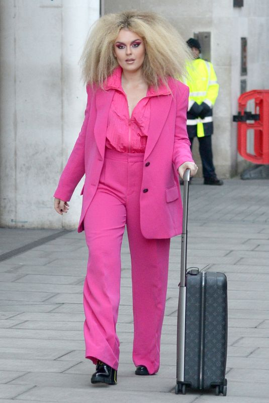 TALLIA STORM All in Pink Arrives at BBC Radio One in London 02/27/2020