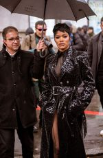 TEYANA TAYLOR Arrives at Thierry Mugler Show at Paris Fashion Week 02/26/2020