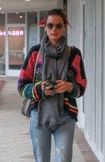 ALESSANDRA AMBROSIO in Ripped Denim Out for Lunch in West Hollywood 03/12/2020