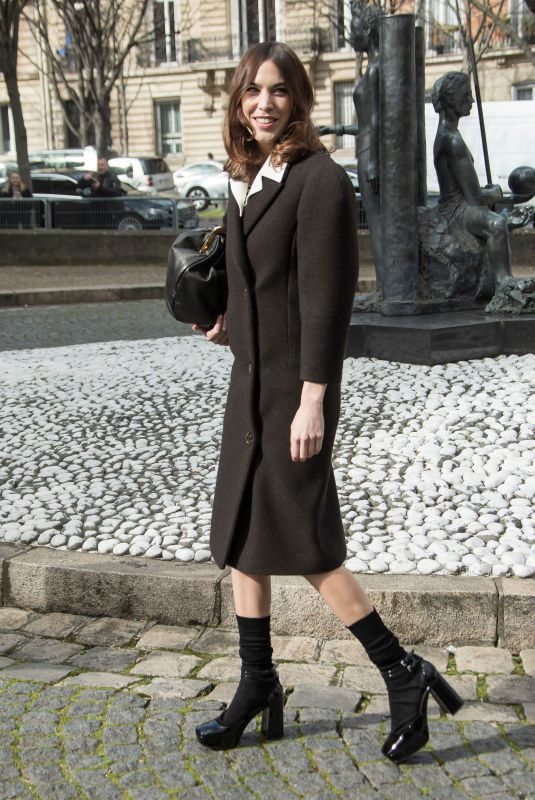 ALEXA CHUNG Arrives at Miu Miu Show at Paris Fashion Week 03/03/2020