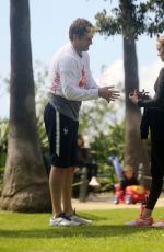 AMBER VALLETTA at Her Yoga Class in a Park in Santa Monica 03/17/2020