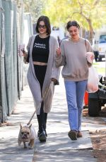 AMELIA and DELILAH HAMLIN Out with Their Dog in Los Angeles 03/08/2020