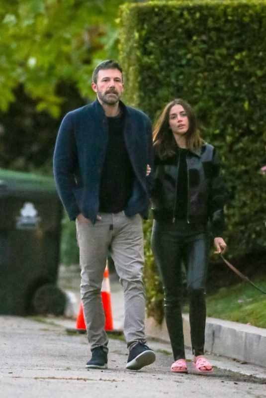 ANA DE ARMAS and Ben Affleck Out with Their Dog in Brentwood 03/22/2020