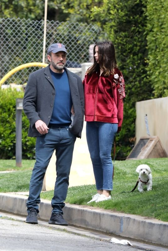 ANA DE ARMAS and Ben Affleck Out with Their Dog in Brentwood 03/28/2020