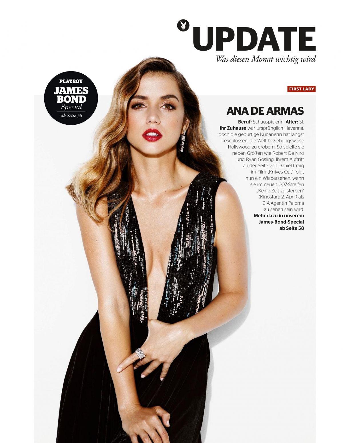 ANA DE ARMAS in Playboy Magazine, Germany April 2020